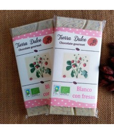 CHOCOLATE BLANCO con FRESAS Tableta 95g TIERRA DUL